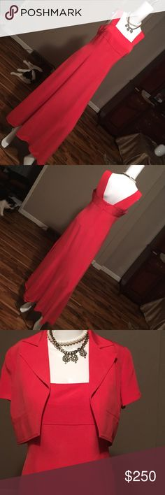 Dana Buchman 100% silk dress This dress has been worn once to a wedding, it's absolutely beautiful w or W/O the jacket. I would say it would fit up to a size 4. Don't forget to bundle and save💕💕 Dana Buchman Dresses