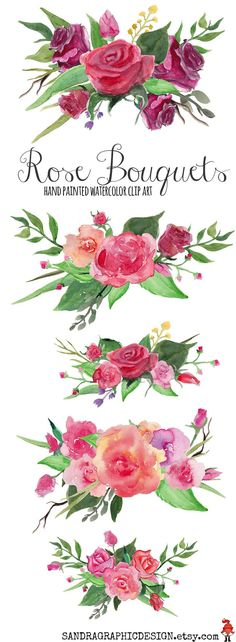 Floral clip art, rose clip art, rose flowers, rose bouquet, hand painted roses, watercolor clip art. 5 flower arrangements, INSTANT DOWNLOAD on Etsy, by SandraGraphicDesign
