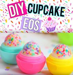 Best DIY EOS Projects - DIY Cupcake EOS Lip Balm! - Turn Old EOS Containers Into Cool Crafts Ideas Like Lip Balm, Galaxy, Gumball Machine, and Watermelon - Fun, Cheap and Easy DIY Projects Tutorials and Videos for Teens, Tweens, Kids and Adults http://diyprojectsforteens.com/diy-eos-projects