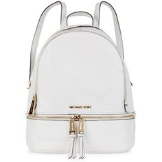 Womens Backpacks Michael Kors Rhea Small White Leather Backpack (110.270 HUF) ❤ liked on Polyvore featuring bags, backpacks, backpacks bags, zipper bag, zip bags, genuine leather backpack and white leather bag