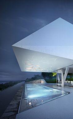 Villa F With Impressive Futuristic Architecture | DigsDigs