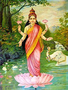 Goddess Lakshmi by Raja Ravi Varma. Fine Art Repro Made in U.A Giclee Prints Thomas Gainsborough, Kerala, Ravivarma Paintings, Indian Paintings, Abstract Paintings, Famous Indian Artists, The Blue Boy, Raja Ravi Varma, Mythological Characters