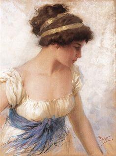 Achille Beltrame 1871 - 1945 - Portrait of a lady, circa Classic Paintings, Beautiful Paintings, Trois Crayons, Pre Raphaelite, Renoir, Woman Painting, Figurative Art, Female Art, Art History