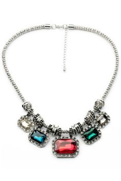 Multicolor Glamorous Crystal Clear Faced Necklace