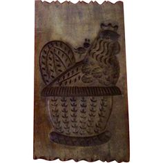 Vintage Wooden Folk Art Chicken Carving Springerle Cookie / Butter Mold Wall Hanging