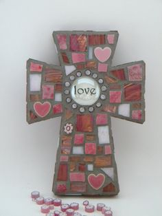 Pink Love Mosaic Cross by TheMosartStudio on Etsy
