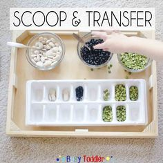A simple, easy to set up toddler activity that teaching transfer skills. Using household items, toddler's scoop and transfer into an ice cube tray.
