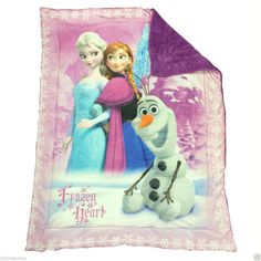 "Licensed  42"" x 54"" Disney Frozen Hearts Sherpa Fleece Crib Blanket  #Disney #Blanket #Frozen"