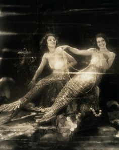 "Lillian Roth and Frances Dee, 1930s      Actresses Lillian Roth and Frances Dee dressed as lovely mermaids of the sea. Frances Dee (right) appears opposite Maurice Chevalier in his new production ""Playboy of Paris"", and Lillian Roth (left) plays Jack Oakie's leading lady in ""Sea Legs"". ca. 1930 Hollywood, Los Angeles, California, USA  By Gatochy on Flickr"