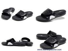 Nike Air Lebron Slide Sandals Noir Blanc Sortie