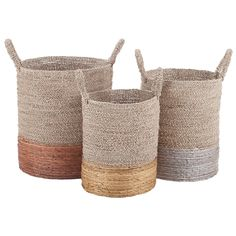 """An essential collection for modern living, the Mixed Metallics nested baskets offer storage and style in spades. The lustrous bases of these classic woven vessels create contemporary appeal. Natural seagrass, banana leaves; Copper, silver, gold finishes; Set of 3; Wipe with soft, dry cloth to clean; Large: 14"""" Dia x 22""""H; Medium: 13"""" Dia x 21""""H; Small: 12"""" Dia x 9""""H"""