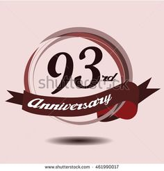 93rd anniversary logo with circle composition soft chocolate color and ribbon