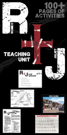 A star-crossed teaching unit for William Shakespeare's lovestrong classic play Romeo and Juliet. 100+ pages of activities that are sure to engage high school English students. Intro and historical activities, Plot, Conflict, Characters, Writing Journals, Pop Quizzes, Vocabulary, Groupwork, Essay by Created for Learning
