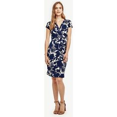 Ann Taylor Tropic Wrap Dress ($98) ❤ liked on Polyvore featuring dresses, washed navy, petite wrap dress, v neck wrap dress, blue dress, ruched dresses and blue wrap dress