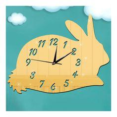 Mirror Wall Clock DIY Creative Kid Room Cartoon Rabbit golden
