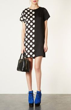 Topshop Spot Mix Tunic Dress