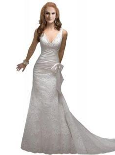 BRIDE Sexy Deep V Neck Lace Over Satin Court Train Wedding Dress