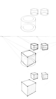 cubes in two-point perspective with different rotations