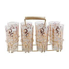 Gold and White Bubble  Glasses in Caddy Barware | H & H Home