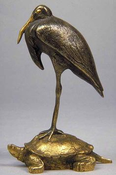 Antoine-Louis BARYE  Paris, 1795 – Paris, 1875    Heron on a tortoise  Silver- and gold-plated bronze