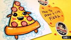 How To Draw A Cute Pizza - Easy and Kawaii Drawings by Garbi KW ...