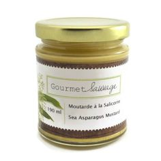 Sea asparagus mustard  This mustard is adorned with sea aspargus which gives it a salty taste. Delicious with meat in hamburger or as an accompaniment to ham.