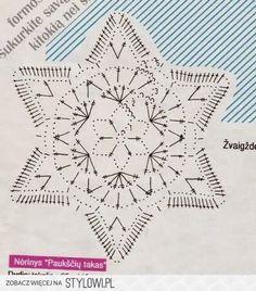 Stylowi.pl - Odkrywaj, kolekcjonuj, kupuj Crochet Snowflake Pattern, Crochet Motif Patterns, Crochet Stars, Crochet Snowflakes, Crochet Diagram, Thread Crochet, Crochet Doilies, Crochet Flowers, Crochet Christmas Ornaments