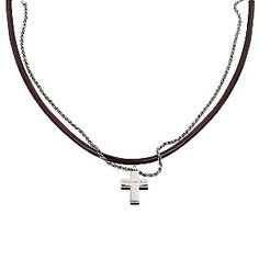 Ernest Jones - Emporio Armani men's leather and sterling silver necklace