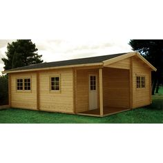 24.25 ft. D x 20.08 ft. W Wood Log Hobby Workshop Office Extra Space Storage Building, Browns/Tans