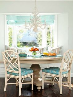 Banquette seating in a bay window.