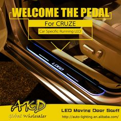 95.00$ Buy now - http://alin23.worldwells.pw/go.php?t=32751638086 - AKD Car Styling LED Moving Door Scuff for Chevrolet Cruze Door Sill Plate Welcome Pedal LED Brand Logo Drl Accessories