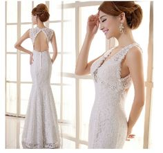 Deep V-neck Wedding Dress Ivory Sexy Backless Bridal Gown Mermaid Lace Dress