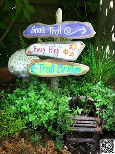 2. #Point the Way - 48 Fantastic #Fairy Gardens for Your Yard ... → #Gardening #Clothesline
