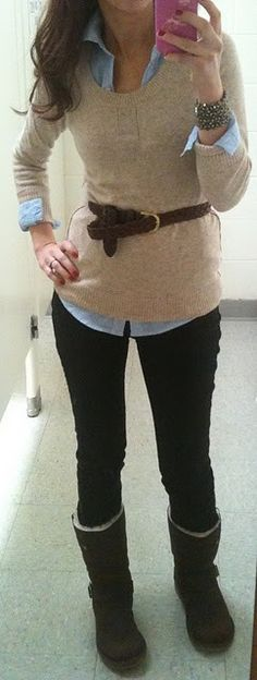 Good idea: sweater over a button down & belted