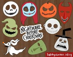 The Nightmare Before Christmas Photo Booth Props - Nightmare before christmas - christmas photo props - Christmas photo booth - PRINTABLE Christmas Birthday Party, Christmas Baby Shower, Halloween Birthday, Baby Halloween, Halloween Crafts, Lego Birthday, 13th Birthday, Christmas Photo Booth Props, Christmas Photos