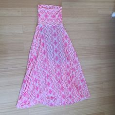 Victoria's Secret strapless maxi dress Excellent used condition this dress has only been worn once can be worn as a maxi skirt or dress.   Color resembles the second two pictures. Victoria's Secret Dresses Maxi