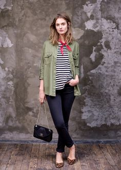 Striped tee + leopard flats + twill shirt + red bandana = love the casual yet chic feel of this outfit