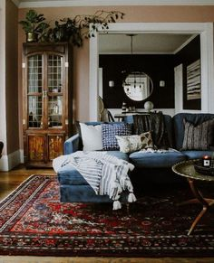 Trend Alert: Velvet Living Room Decor Is Here To Stay! - Check Out These Beautiful Living Room Design Ideas! - decor ideas living room on a budget Living Room Carpet, Home Living Room, Living Room Designs, Living Spaces, Blue Velvet Sofa Living Room, Red Persian Rug Living Room, Persian Decor, Blue Couches, Colourful Living Room