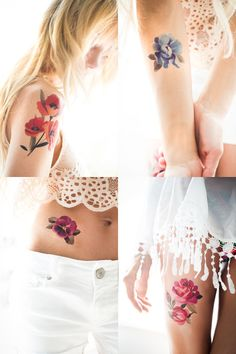 Sasha Unisex temporary tattoo flower collection