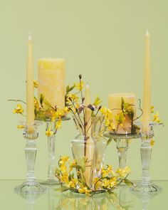 A sunny and cheerful candle grouping. Products available at S & Gift Outlet