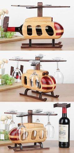 Wooden Helicopter Wine Bottle Holder Wine Glass Holder Stemware Rack Drying Stand
