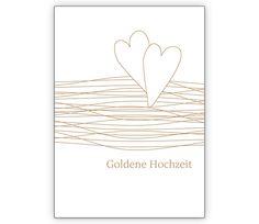 Elegante Glückwunschkarte mit Herzen zur goldenen Hochzeit - http://www.1agrusskarten.de/shop/elegante-gluckwunschkarte-mit-herzen-zur-goldenen-hochzeit/    00012_0_2784, Ehe, gold, Goldenehochzeit, Grusskarte, Helga Bühler, Hochzeit, Jubiläum, Klappkarte00012_0_2784, Ehe, gold, Goldenehochzeit, Grusskarte, Helga Bühler, Hochzeit, Jubiläum, Klappkarte
