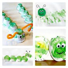 4 Caterpillar Crafts for Toddlers from Craftulate at B-InspiredMama.com