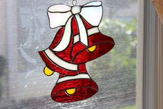 Stained Glass Three Bells and a Bow by Stainedglasslove on Etsy, $30.00