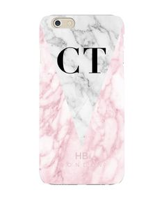 Personalised Pink and White Marble Initial Phone Case - iPhone 6s Plus - Slimline Case