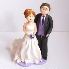 Hand Made Polymer Clay Wedding Cake Topper by DesignsByDenisa