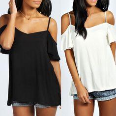 Boho New Ladies Womens Strappy Cami Frill Sleeve Vest Swing Top UK 6 16   eBay
