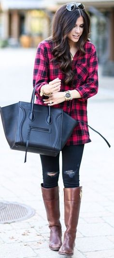 Tartan Button Up Fall Street Style Inspo Sweetest Thing Chic Outfits, Spring Outfits, Fashion Outfits, Fashion Trends, Fashionable Outfits, Fashion Inspiration, Simple Outfits, Jean Outfits, Fasion