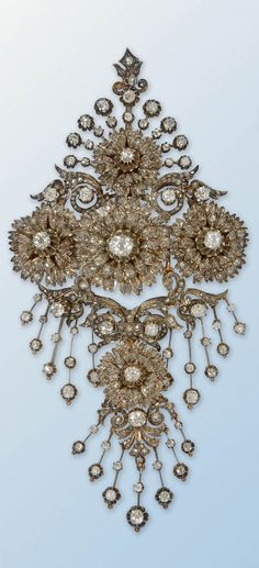 Diamond bodice prnament/ brooch. France, 19th century