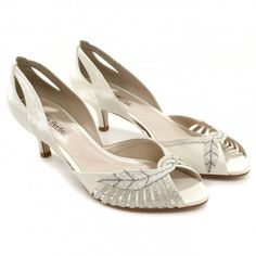 Sapato Laura Porto Peep Toe MR3423 Platina/perola   Zariff